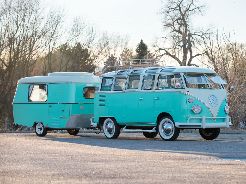 1963 volkswagen 23 window microbus with trailer