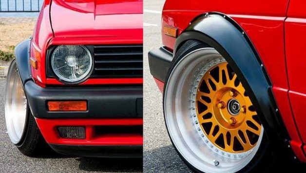 wide fenders golf 2 628x356 Fender flares for VW Golf mk2