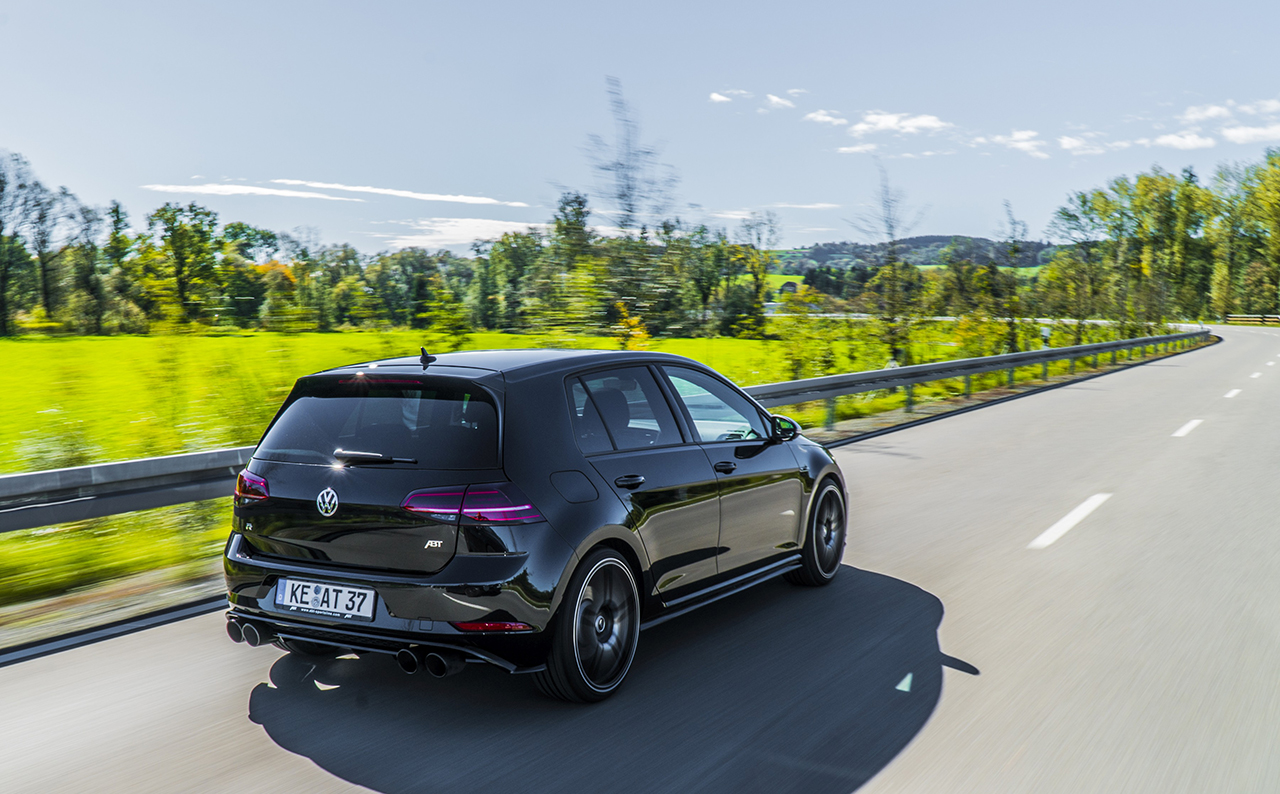 ABT Golf VII R driveing diagonal rear 400 HP in the ABT Golf VII R