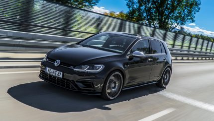 ABT Golf VII R driving diagonal front 430x244 400 HP in the ABT Golf VII R